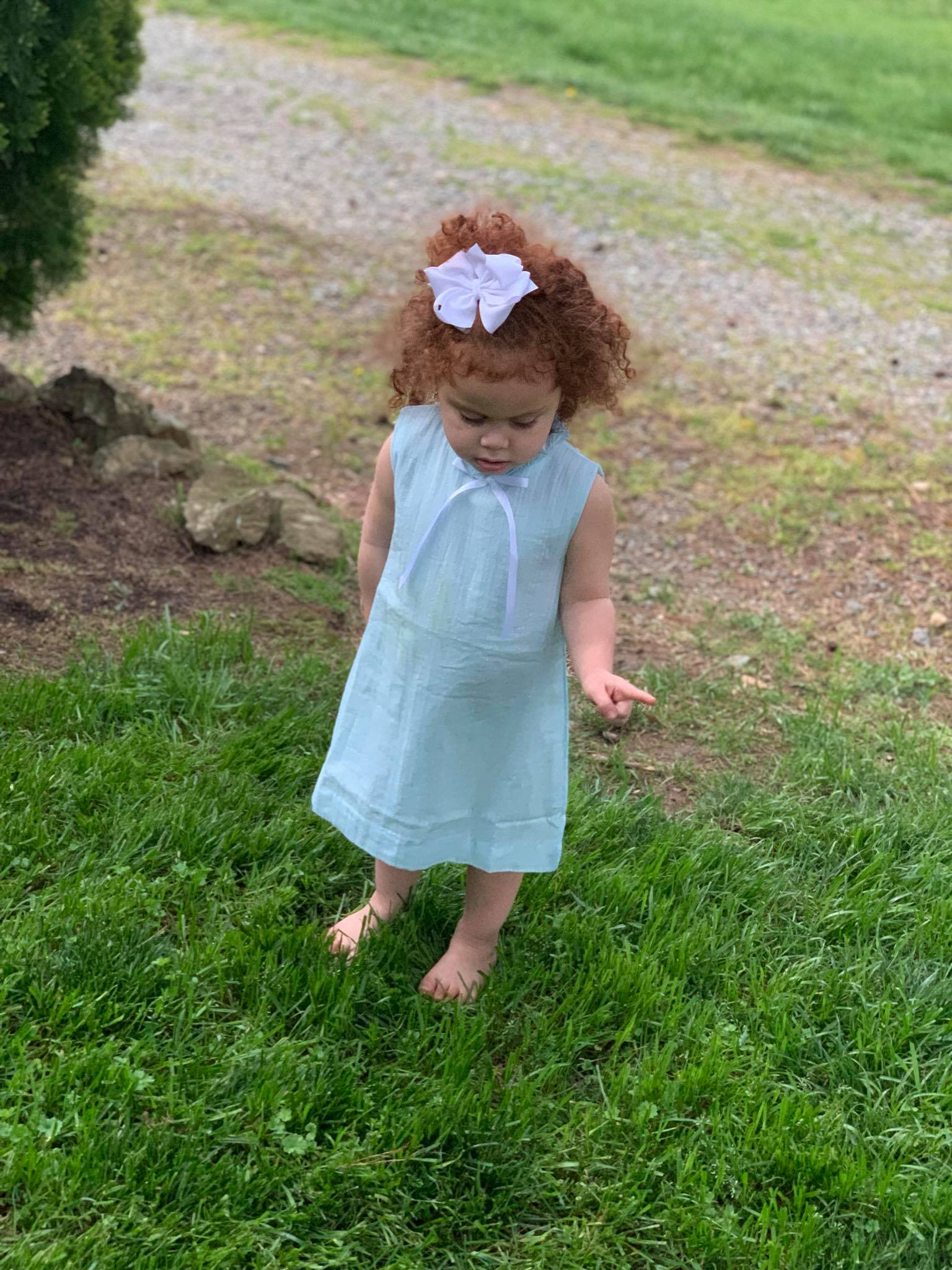 Girls Blue Linen Dress