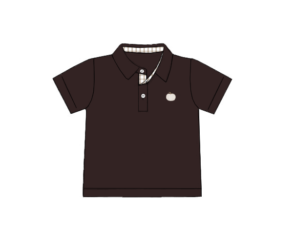 Boys Brown Knit Embroidered Pumpkin Polo