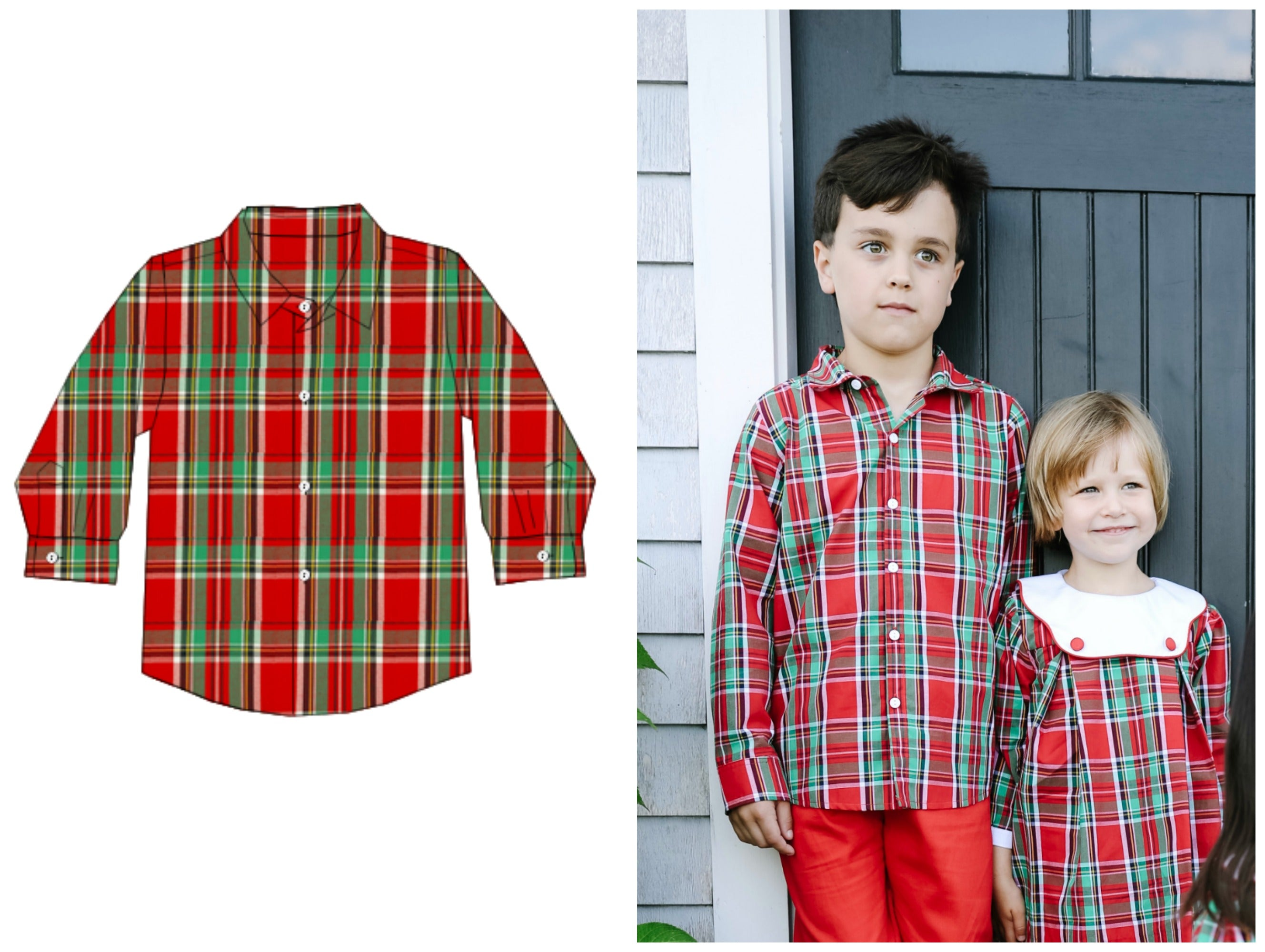 Boys Red Classic Christmas Plaid Button Up Shirt