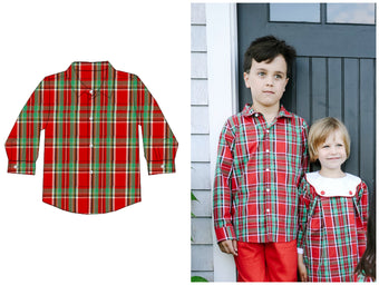 Boys Red Classic Vintage Christmas Plaid Button Up Shirt