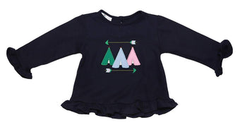Girls Navy Tee Pee Applique Shirt Only