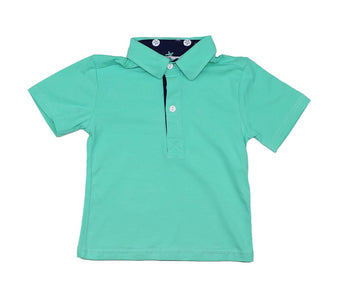 Boys Mint and Navy Polo Shirt