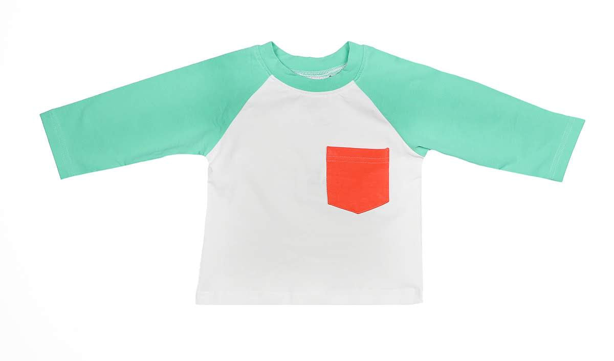 Gracie Brook Collection Boys Mint and Coral Baseball Tee Shirt