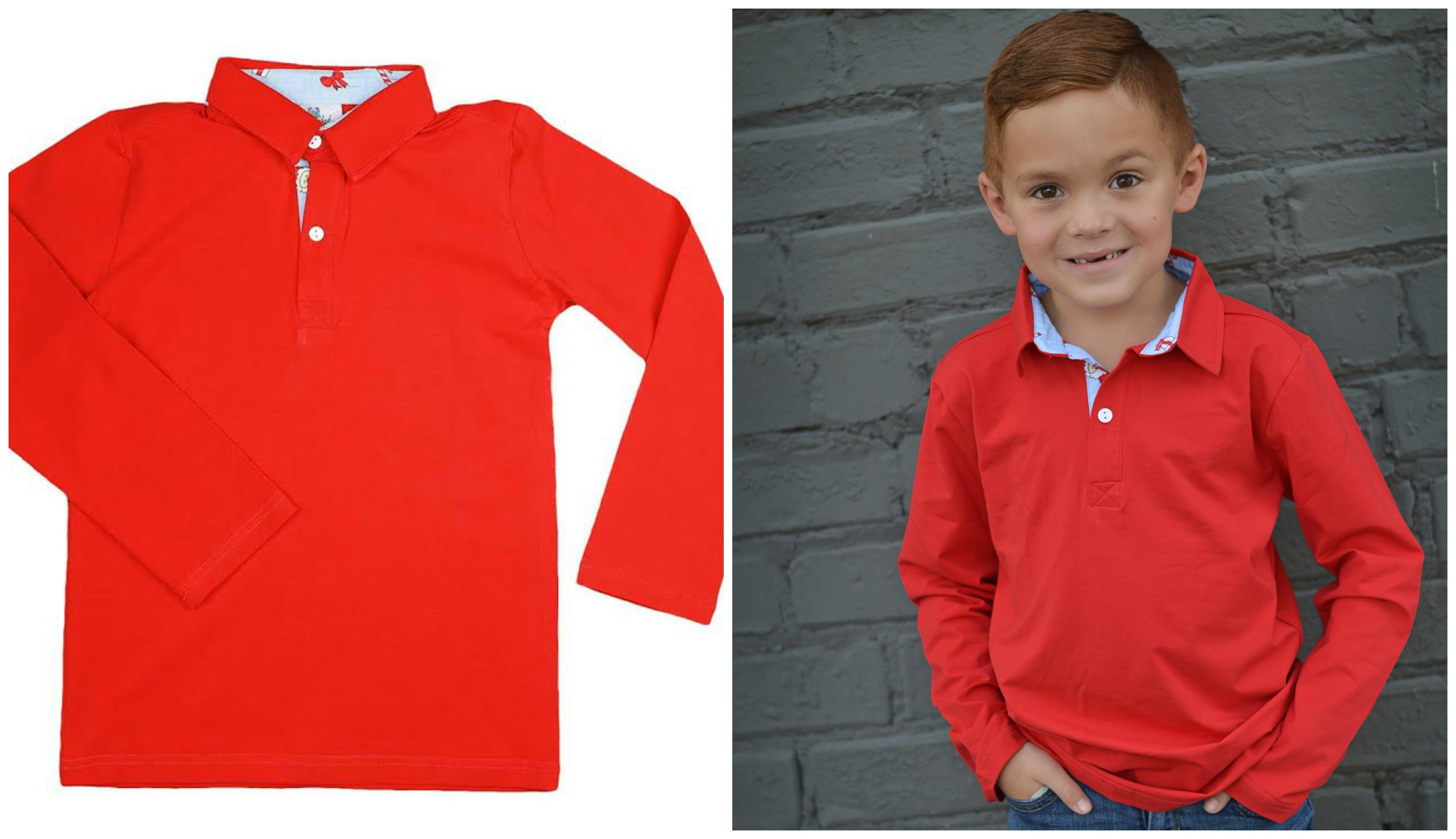 Boys Red Knit Embroidered Santa and Candy Cane Collar Polo