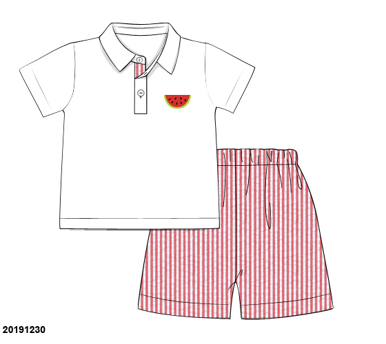 Boys Watermelon Polo & Red Seersucker Short Set
