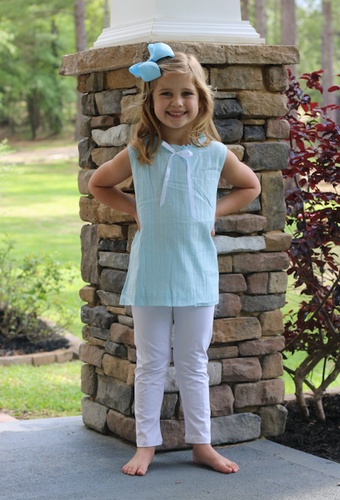 Girls Blue Linen Tunic Set with White Leggings