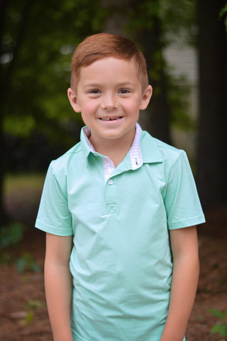 Boys Mint with Pink Seersucker Polo Shirt