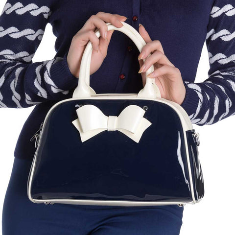 Navy and cream bag