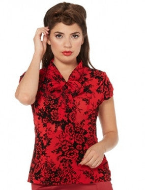Heidi Floral red and black top
