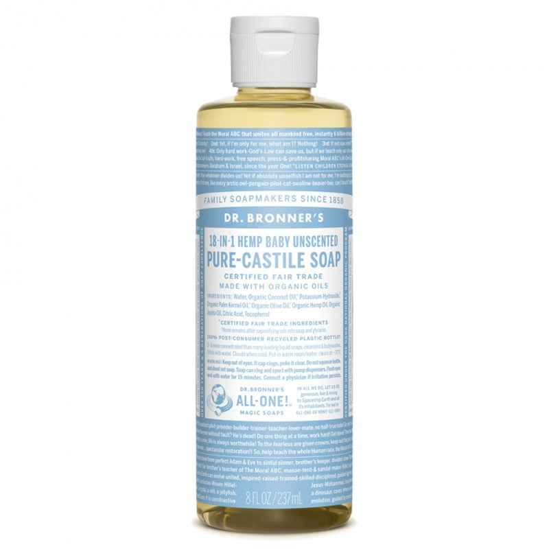 Jabón de Castilla Líquido Bebé Neutral / Piel Sensible 18-en-1 236ml - 18-in-1 Baby Unscented Pure Castille Soap - Oianora