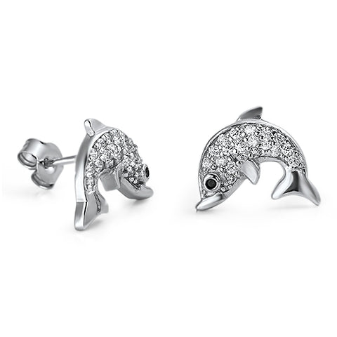 Solid sterling silver dolphin stud earring with CZ stones