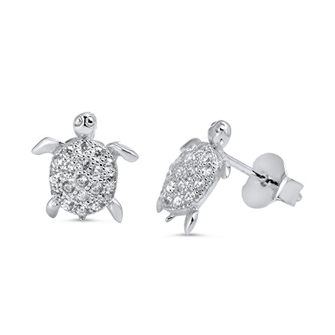 Sterling Silver turtle stud earrings with CZ stones