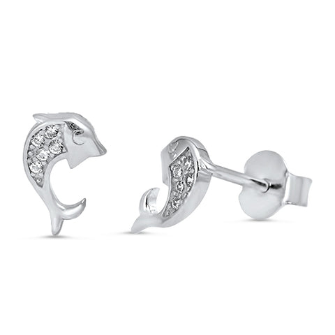 Sterling Silver dolphin stud earring with CZ
