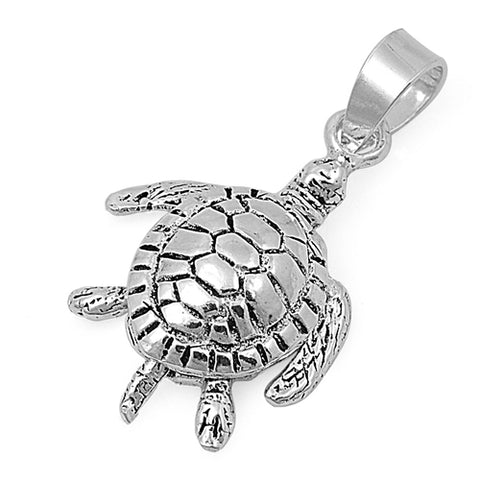Solid sterling silver turtle pendant