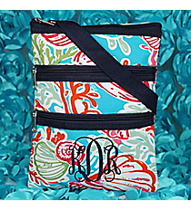 Seaside Bliss Crossbody Bag with Navy Trim