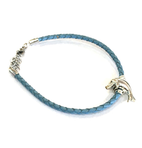 Blue leather charm bracelet