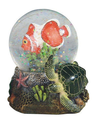 Clownfish Snow Globe with Green Sea Turtle