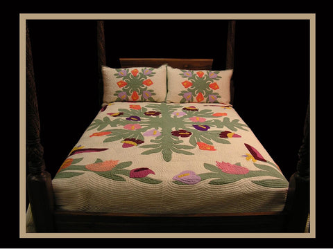 Hawaiian Quilt - Multi Tropical Flowers