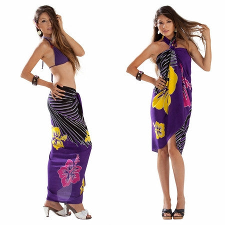 Tropical Floral Sarong in Purple