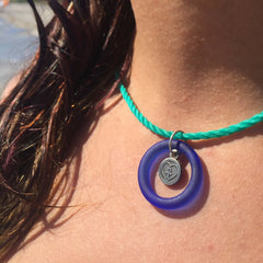 recycled blue glass bottle charm necklace