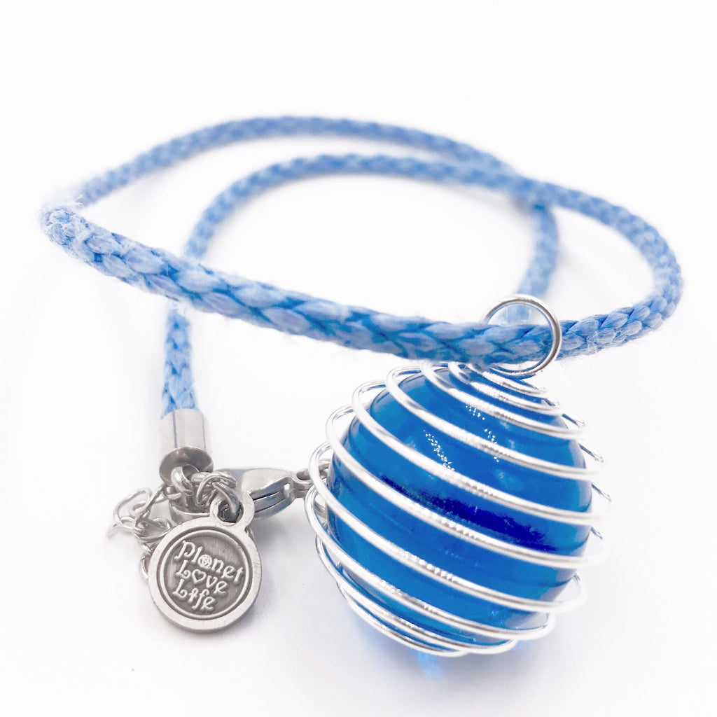 Blue Marble Necklace - Planet Love Life - Recycled Ocean Plastic Bracelet