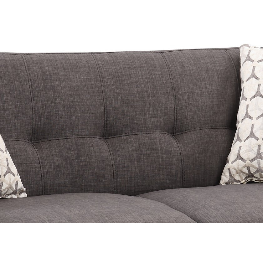 Ac Pacific Crystal Charcoal Mid-Century Love Seat