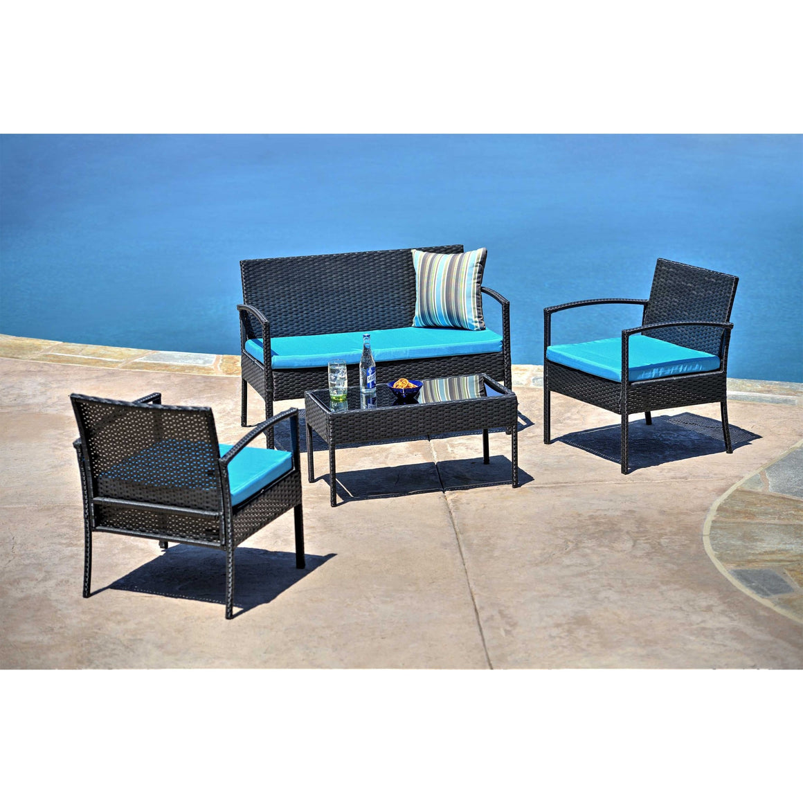 W Unlimited Outdoor Wicker Furniture 4PC set w/ Table Blue Cushion