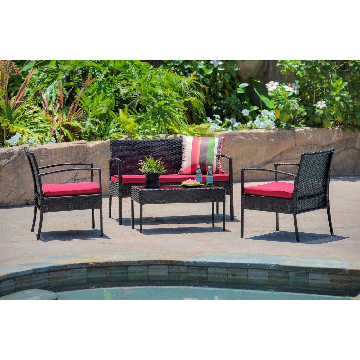 W Unlimited Outdoor Wicker Furniture 4PC set w/ Table Red Cushion