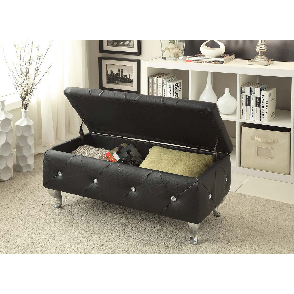 Ac Pacific Black Crystal Tufted Storage Bench AC-BED16-BLK-BENCH