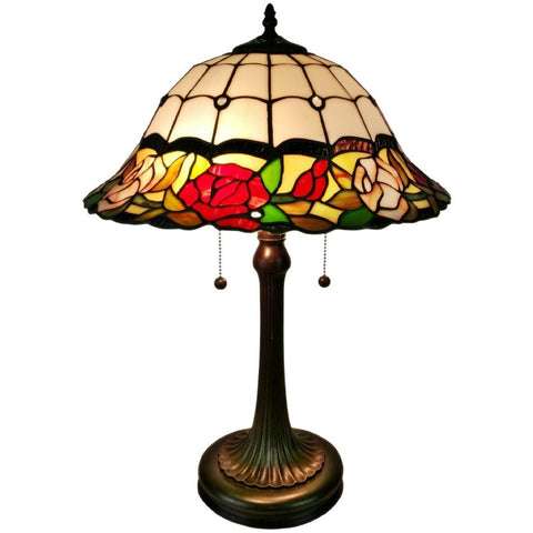 Amora Lighting Tiffany Style AM229TL16 Floral Roses Table Lamp 23""