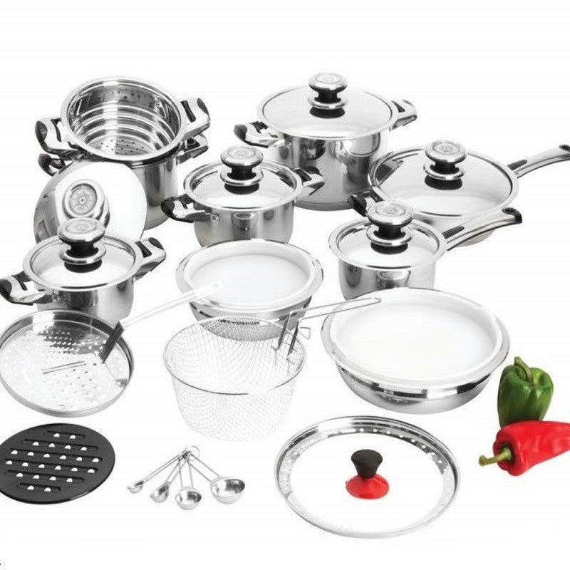 Chefmaster 28pc 12-Element Heavy-Gauge Stainless Steel Cookware Set KT28