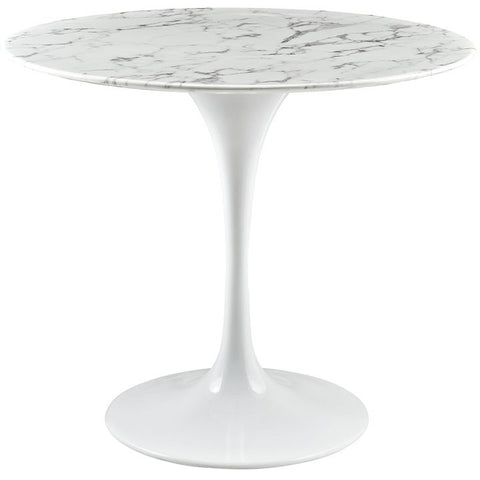 "Modway Lippa 36"" Artificial Marble Dining Table EEI-1129-WHI"