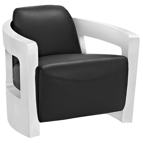 Modway Furniture EEI-2069-BLK Trip Leather Lounge Chair Black