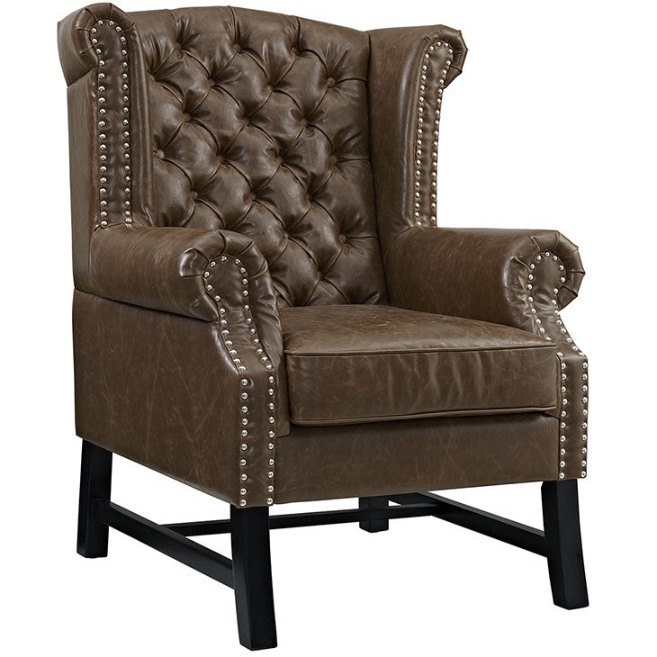 Modway Furniture EEI-2151-BRN Steer Vinyl Armchair Brown