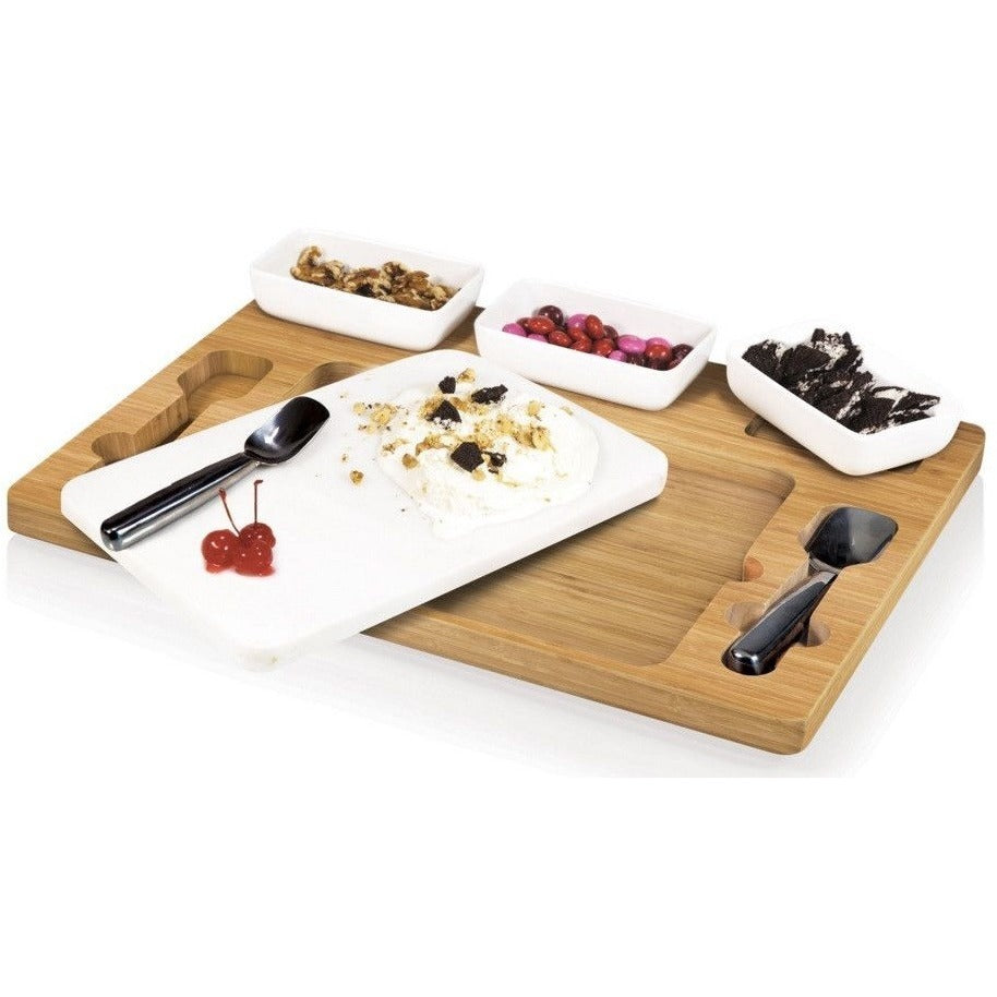 Picnic Time Parlor Ice Cream Mixing Set 870-00-505 , Home & Garden > Kitchen & Dining > Tableware > Serveware > Serving Trays - Picnic Time, Ruby Skies At Night - 1