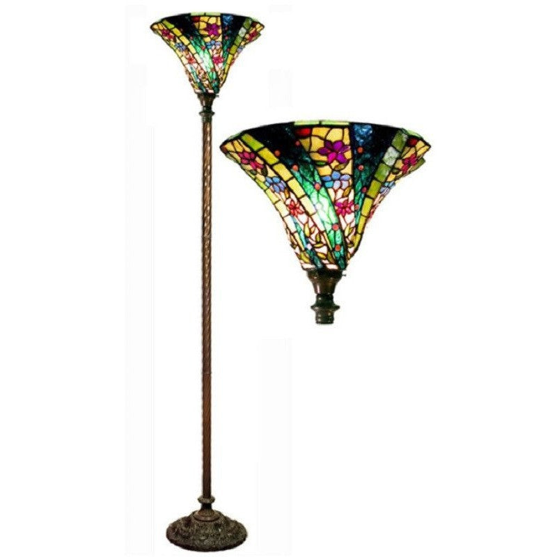Warehouse of Tiffany 1684+BB75B 3-D Green Wave Stained Glass Floor Lamp Torchiere