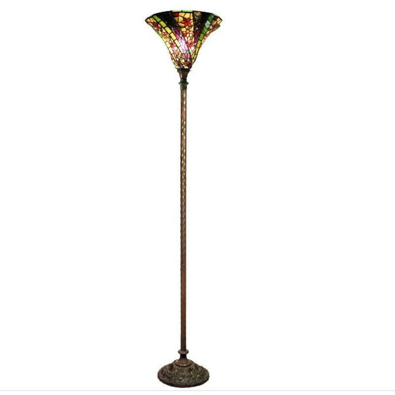 Warehouse of Tiffany 1915+BB75B Purple 3D Wave Stained Glass Torchiere Floor Lamp