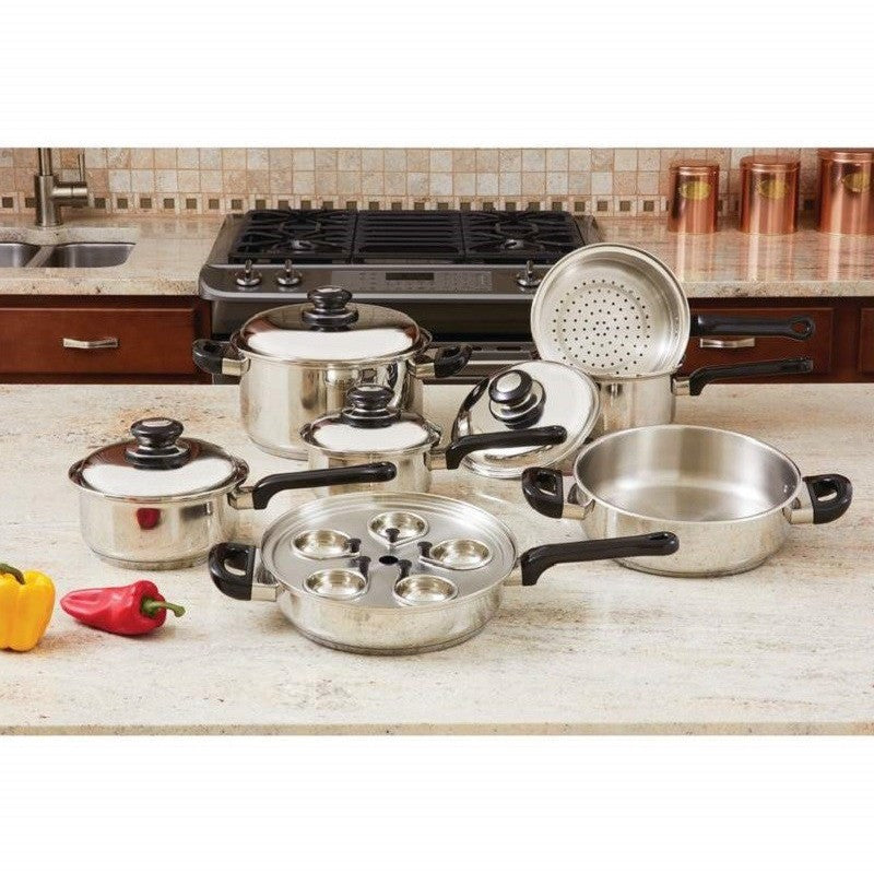 Maxam KT172 - 17pc Stainless Steel Cookware Set