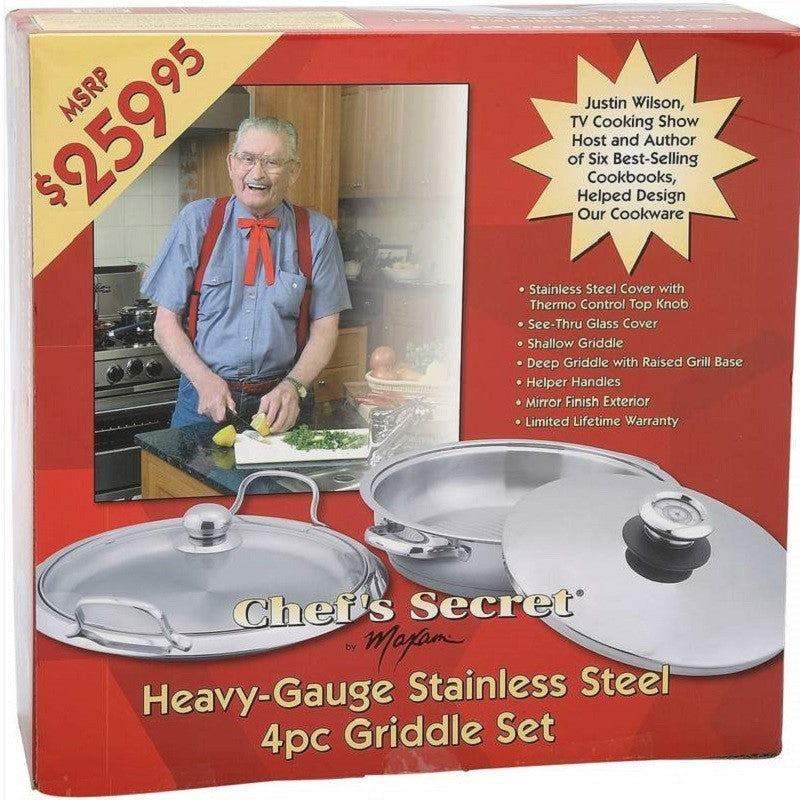 Chef's Secret Heavy-Gauge Stainless Steel 4pc Griddle Set KTGRIDST