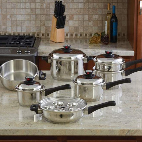 Chef's Secret® 12pc 9-Ply Waterless Heavy-Gauge Stainless Steel Cookware Set KT12