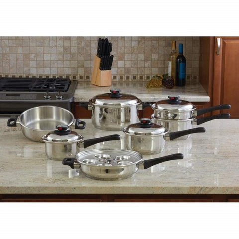KT17 - Maxam 9-Element 17 Piece Waterless Cookware Set