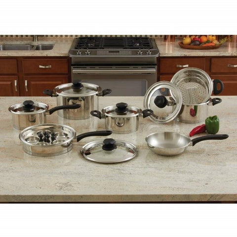 Maxam 18pc Stainless Steel Cookware Set Steam Control Knobs KT18SC