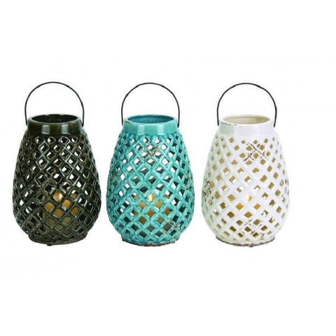Benzara 38867 Set of 3 Checks Style Glossy Ceramic Lantern