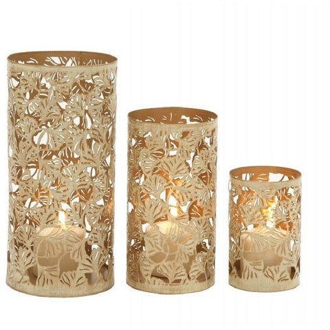 Benzara 22239 Contemporary Set Of Three Metal Candle Holder