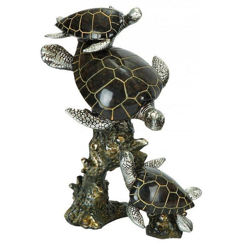 Benzara 98311 Polystone Three Turtles Sculpture Statue