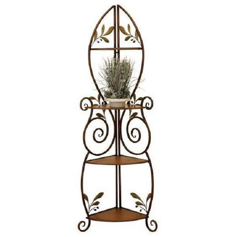 Benzara 41909 Alpine 3 Tier Metal Corner Rack Shelf