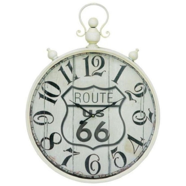 Benzara Inc 92258 Rustic Metal Wall Clock Route 66