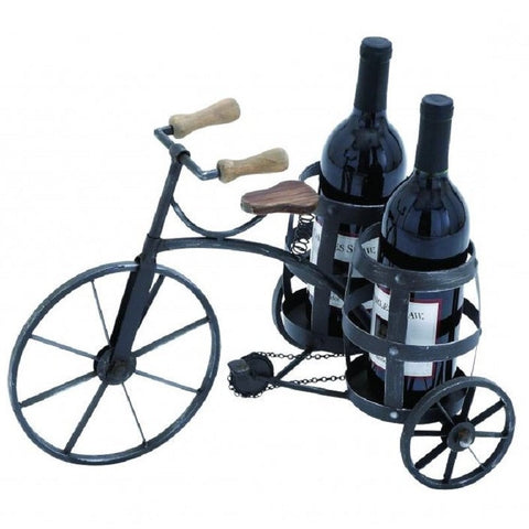 Benzara 92315 Bike Wine Bottle Holder Rack Black Tricycle
