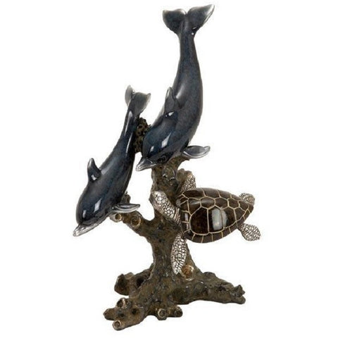 Benzara 98396 Dolphins And Sea Turtle Cold Cast Statue Sculpture