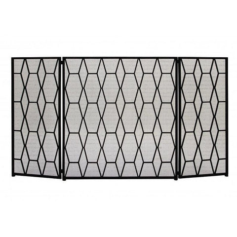 Benzara 50378 Metal Fire Screen with Geometrical Designs